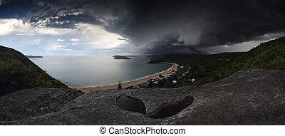 australie, cassé, sur, baie, perle, supercell, orage, plage,...