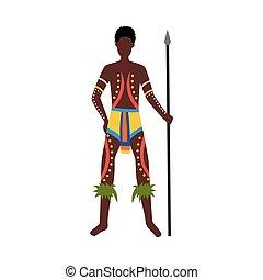 australie, culture, indigène, aborigène, homme, elements.