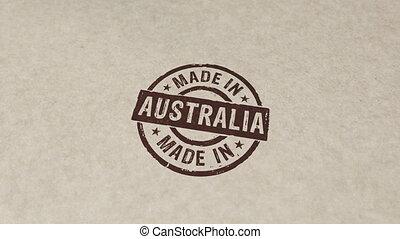 australie, fait, animation, compostage, timbre