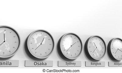 australie, horloge, projection, dans, animation, temps, conceptuel, mondiale, sydney, rond, zones., 3d
