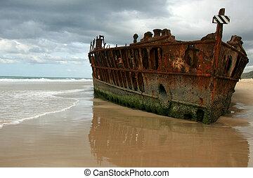 australie, maheno, île, naufrage, fraser, -, unesco, bateau