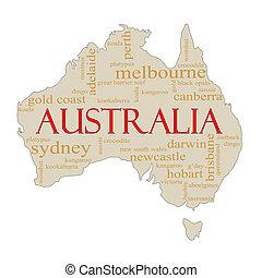 australie, mot, nuage, carte