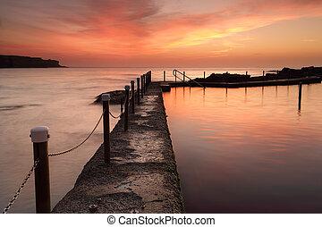 australie, océan, piscine, aube, malabar, levers de soleil