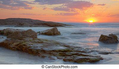 australie, plage, coucher soleil, birubi
