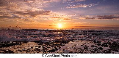 australie, puissant, vague, newcastle, plage, levers de soleil