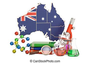 australie, scientifique, concept, recherche, rendre, 3d