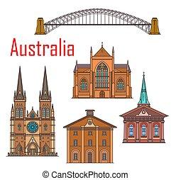 australie, sydney, bâtiments, repère, architecture