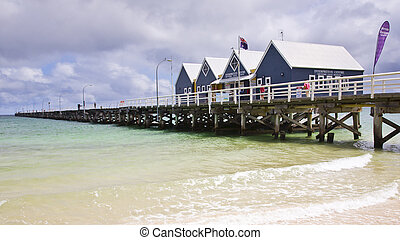 australie, wa, jetée, busselton, occidental, plage, sud