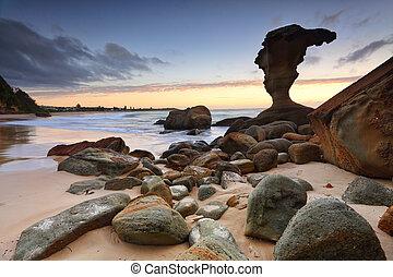 australien, central, kyst, noraville, strand, solopgang, nsw