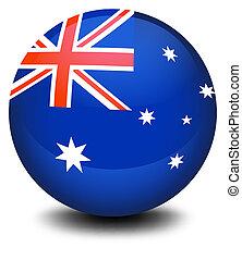 australien, fotboll, flagga, boll