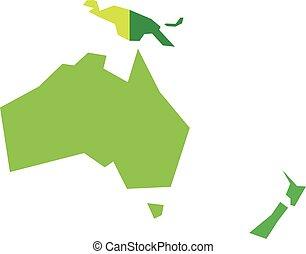 australien, geometrisk, oceania., infographical, mycket, enkel, politisk, karta, vektor, förenklat, illustration