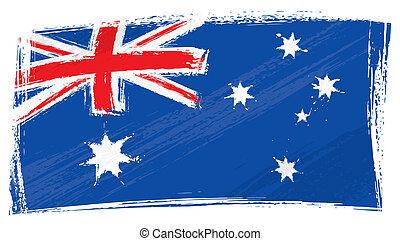 australien, grunge, flagga