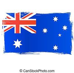 australien, grungy, drapeau