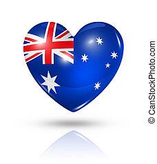 australien, hjärta, flagga, kärlek, ikon