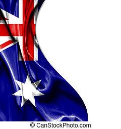 australien, isolerat, vinkande flagg, bakgrund, vitt satäng