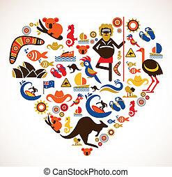 australien, kärlek, -, hjärta, med, sätta, av, vektor,...