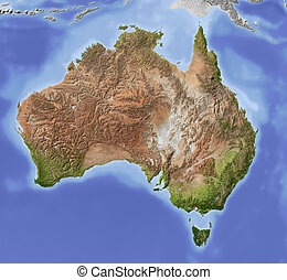 australien, karta, skuggat, lättnad