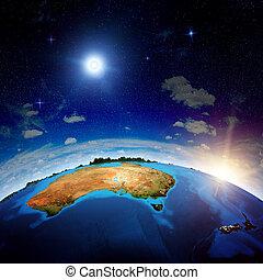 australien, och, färsk, zeland
