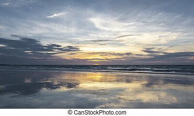 australien, solnedgång, broome