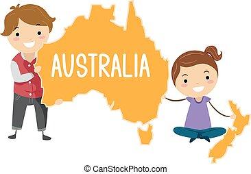 australien, stickman, lurar, illustration, kontinent