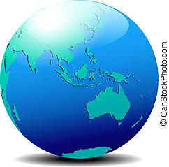 australien, värld glob, asien