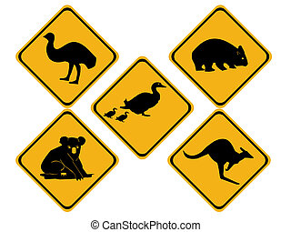 australien, vie sauvage, panneaux signalisations