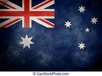 australier, grunge, flagga