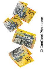 australier, pengar, stjärnfall