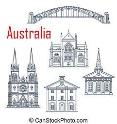 australier, vektor, sätta, milstolpar, resa