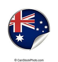 australijski, odznaka, bandera, rzeźnik, ikona