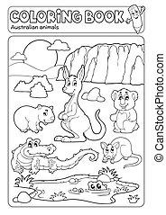 australijski, zwierzęta, różny, koloryt książka