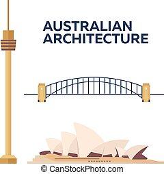 australský, architecture., moderní, byt, design., vektor, illustration.