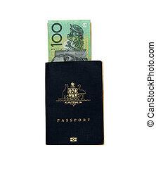 australsk, pas, hos, $100, australsk, note., penge, og, pas, =, oversøiske, ferie