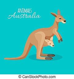 Austrastralia kangaroo animal mother with child in pocket on blue