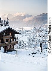austria, alpes, en, invierno