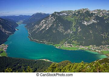 austria, alpino, hermoso, lago