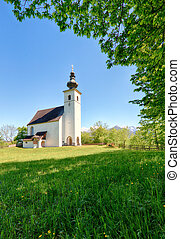 Austria Alps church in village Golling