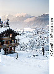 Austria Alps in winter - Mountain area in the Alps near ...