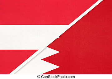 Austria and Bahrain, national flags from textile. Relationship, partnership and match between two countries.