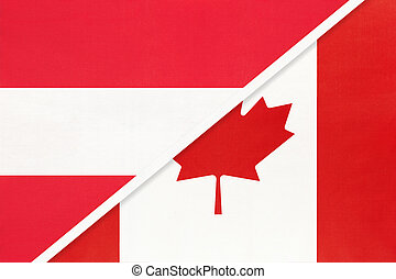 Austria and Canada, symbol of national flags from textile.