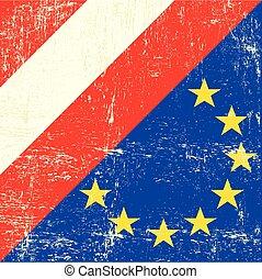 Austria and european grunge Flag