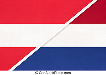 Austria and Netherlands or Holland, symbol of national flags...