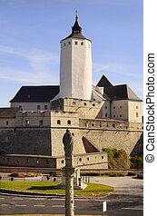 Austria, Castle Forchtenstein and column with saint