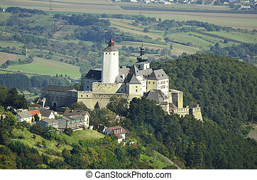 Forchtenstein, Austria - September 28th 2014: Castle Forchtenstein in Burgenland, includes a museum and is place for different exhibitions and events