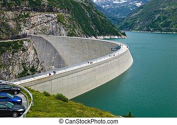 "the reservoir for power generation by hydropower in malta, carinthia, austria. memory ""kölnbrein"" in the malta valley."