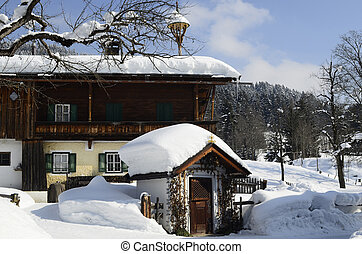 Austria, chapel and farmstead in traditional architecture in Tyrol