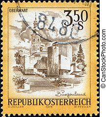 AUSTRIA - CIRCA 1978: A stamp printed in Austria shows Roman Catholic Parish Church in Oberwart, Burgerland, circa 1978