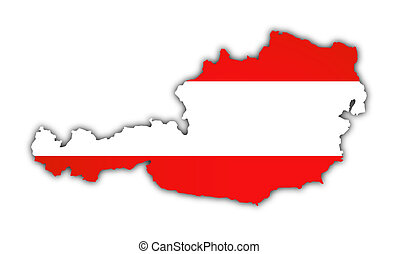 austria - map and flag of austria on white background