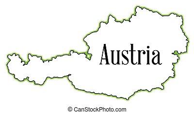 Austria - Outline map of Austria over a white background