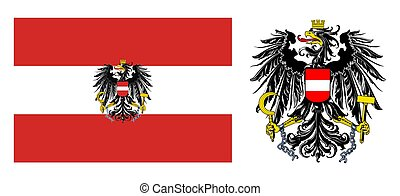 Austria coat of arms and flag